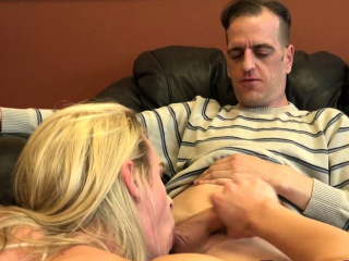 Blonde tranny gets pounded and cum sprayed