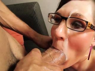 Guy facialized horny shemale slut