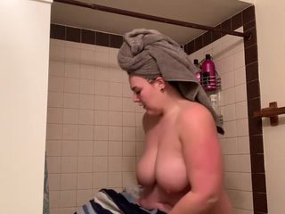 shower spy cam on young BBW with milk leaking out of boobs!