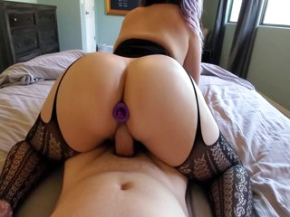 Serena Silver footjob ends in reverse cowgirl, creampie and anal plug