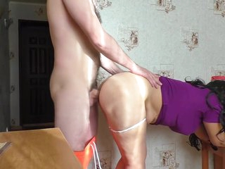Mom and stepson have anal sex in the kitchen and blowjob