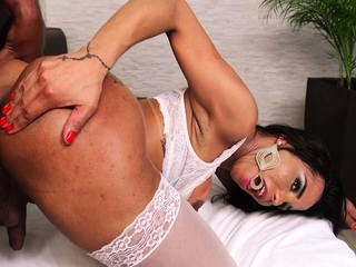 Stockings sheshaft hard fucked