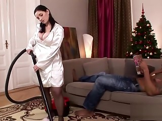 Busty housewife rides on a BBC