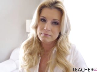 Seductive blonde mom is spreading her legs wide open for her step- son's rock hard cock
