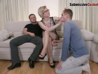 Dirty minded blonde milf is having a wild anal threesome with two horny guys, on the sofa