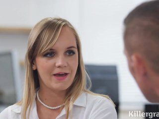 Sweet, blonde secretary with a nice ass, Lucette likes to have anal sex with her boss