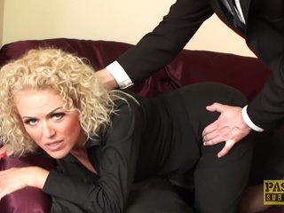 Curly haired MILF lets herself be used hard