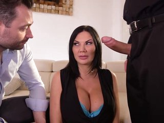 Nasty milf with big boobs, Jasmine Jae is getting two hard cocks, for a double pleasure