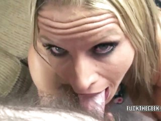 Curvy housewife Skylar Rae goes down on some dick for a hot point of view blowjob
