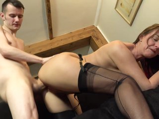 Passionate, amateur mature, Lara Latex asked her sons friend to fuck her dirty brains out