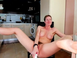 Hairy Milf Masturbates With A Big Dildo