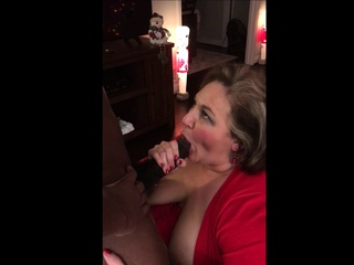 Mature bbw sucking black dick in front her hubby