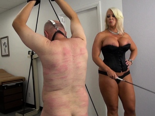 Sexy blond Mistress Mercedes whip her fat small slave