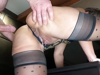 Beautiful Milf Gets Fucked From Behind Standing And Gets Her Pussy Filled Showing Us The Dripping C