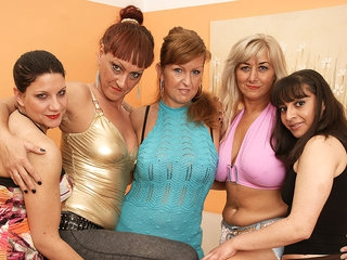 Five Old And Young Lesbians Party Hard - MatureNL