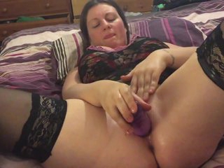 Close Up Solo Selfie Of House Mate Enjoying Her New Ten Inch Purple Dildo
