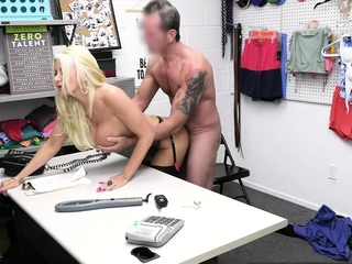 Busty shoplifter bend for deep searching