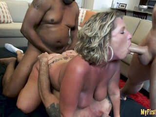 Horny Milf First Double Vaginal Gangbang