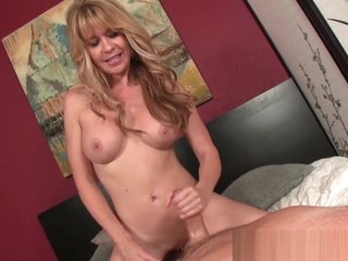 Kinky busty cougar stroking cock POV