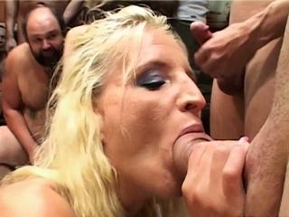 Slutty European amateur babe taking dicks in groupsex