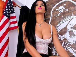 Sexy Shemale With Big Tits Jerking Her Huge Cock Off