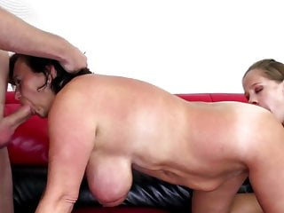 Busty mature mom fucked by dirty young couple
